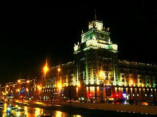 architecture city night lights rain