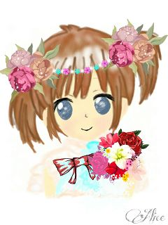 gdflowercrown drawing girl anime cute