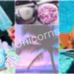 unicorns beach collage colerfull