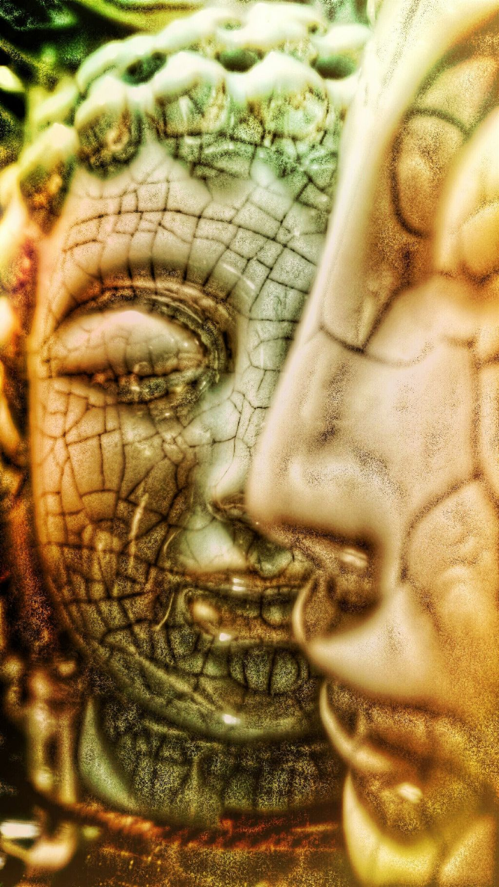 Look and look again #colorful #emotions #hdr #photography #light #texture #cracked #look #statue #head #perspective  #buddah #perspective