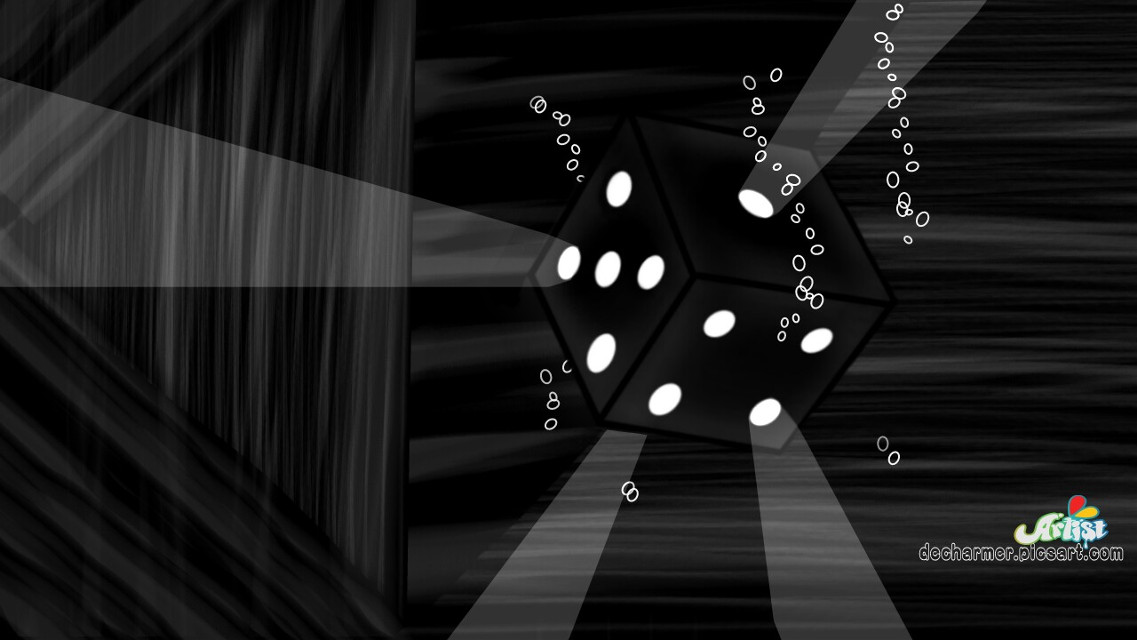"""#dcabstractshapes Voila.. Here is my 2nd entry.  🔦🎲 """"Find Me"""" 🎲🔦 Drawn by me using PicsArt Tools only. Tutorial will be out soon, ✌.   Help me with ur likes, comments, repost and votes.   #blackandwhite #dice #lights #drawing #art #digitaldrawing #digitalart #abstract #blackonblack"""