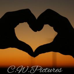 herz love sundown sunset colorful
