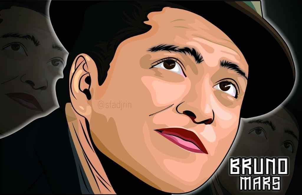 Bruno Mars.  Do you like this ? #instadesign #instagood #instadesign #vectorwajah #coreldraw #vectomurah #paint #drawing #brunomars